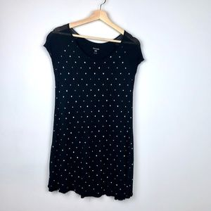 Kensie Black Short Sleeve T-Shirt Dress White Dots